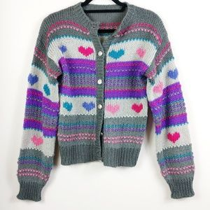 Vintage Chunky Cable Knit Hearts Sweater w/Buttons